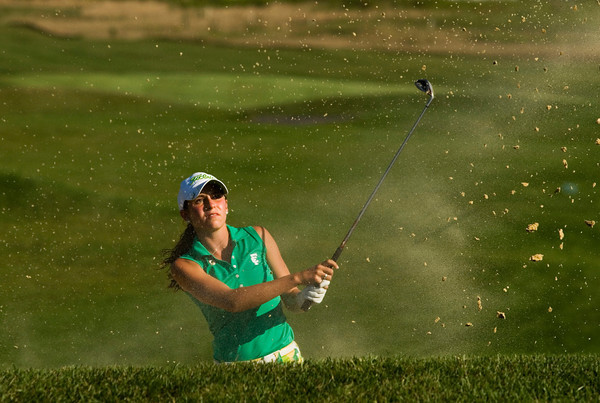 Floyd Central High School junior Eliza Hudson hits out of a bunker on the sixth hole during the Sunnyside Classic at Champions Pointe Golf Club in Henryville on Wednesday afternoon. Hudson shot a 43 in the nine hole round. Staff photo by Christopher Fryer