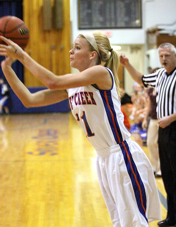 Silver creek senior Emily Clayton launches a three pointer against North Harrison on Wednesday night. Staff photo by C.E. Branham