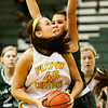Floyd Central center Niki Bruno turns to make a shot during their game against South Oldham at Floyd Central on Wednesday. Staff photo by Christopher Fryer
