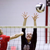 Providence sophomore Patricia Mattingly attempts to block a shot by Roncalli sophomore Lizzie Britner during their game in the Providence Early Bird Invitational on Saturday in Clarksville. Staff photo by Christopher Fryer