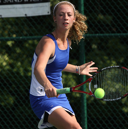 Silver Creek senior Kristen Haeberlein playing No. 2 singles in the Regional final. Staff photo by C..E. Branham