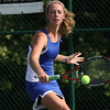 Silver Creek senior Kristen Haeberlein playing No. 2 singles in the Regional final. Staff photo by C..E. Branham