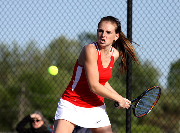 Jeffersonville High School No. 1 doubles player Macy Lancaster in a home match against Providence on Monday. Staff photo by C.E. Branham