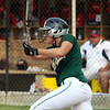 Floyd Central sophomore Taylor Batliner connects for a RBI single in the first inning of the lady Highlanders' 3-2 4A Sectional win over Bedford North Lawrence. Staff photo by C.E.Branham