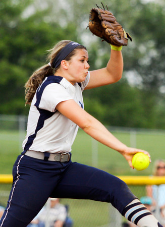 Providence senior Meredith Endris pitches during their game against Henryville at the Eastern High School sectional tournament on Monday. Providence won the game, 10-9. Staff photo by Christopher Fryer