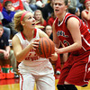 Jeffersonville forward Emily Gray works baseline against Bedford North Lawrence on Saturday night. Staff photo by C.E. Branham