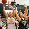 Floyd Central center Tori Kingsley catches an in-bound pass during their game against South Oldham at Floyd Central on Wednesday. Staff photo by Christopher Fryer