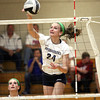 Providence sophomore Haley Libs smashes a kill in the Lady Pioneers 2A Regional final win over Southwestern. Staff photo by C.E. Branham