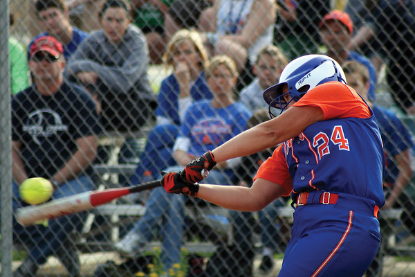 Kelsey Sierota bats for Silver Creek during the Dragons' home win over New Washington on Monday night. Staff photo by Elizabeth Goodman