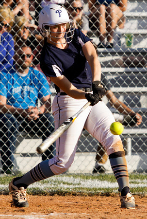 Providence sophomore Jacquie Hornung connects for a single during the Pioneers' home game against Clarksville on Tuesday. Staff photo by Christopher Fryer