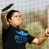 Providence junior Kaitlyn Kull competes in the discus during the Providence Invitational track meet on Wednesday afternoon at Providence High School. Staff photo by Christopher Fryer
