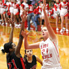 Jeff center Haley Vogen puts up a shot on New Albany Friday night.  Staff photo by C.E. Branham