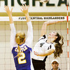 Floyd Central senior Sydney Engle goes up for a shot during their match against Castle in the Floyd Central Regional on Tuesday. The Highlanders took the match in four games, 21-25, 25-15, 25-16, 25-21. Staff photo by Christopher Fryer