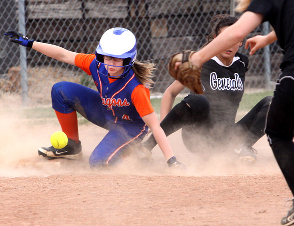 Silver Creek runner Bailey Miller safely steals third against Clarksville Tuesday afternoon. Staff photo by C.E. Branham