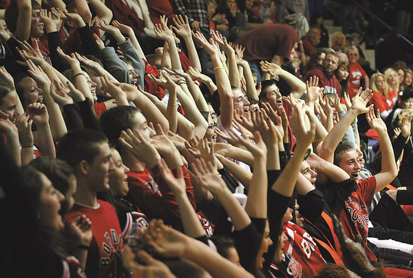 The Borden student section packed in to cheer on the Lady Braves Saturday night in the 1A regional final at West Washington.  staff photo by C.E. Branham