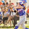 Silver Creek's Shayla Cravens connects for a double during the Dragons' 9-3 home win over Henryville on Monday. Staff photo by Christopher Fryer