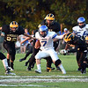 Charlestown running back Syd Gieseking carries the ball toward the end zone during the Pirates' 49-28 win over the Generals at Clarksville Friday evening.<br /> Staff photo by Tyler Stewart