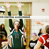 Floyd Central junior Mikaila Humphrey goes up for a block during the Highlanders' home game against DuPont Manual on Thursday. Staff photo by Christopher Fryer