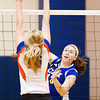Christian Academy of Indiana sophomore Mackenzie Haworth goes up for a kill during the Warriors' home match against Silver Creek on Tuesday. Staff photo by Christopher Fryer
