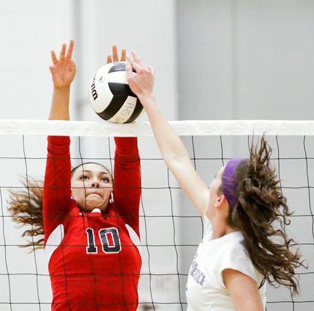 New Albany senior Audrey Donastorg attempts to block a shot during the Bulldogs' game at Providence on Tuesday. Providence took the match in three sets. Staff photo by Christopher Fryer