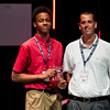 New Albany's Romeo Langford, left, accepts the Boys Basketball Player of the Year Award during the third annual News and Tribune Sports Performance Yearly Awards at Eastside Christian Church in Jeffersonville on Tuesday. Staff photo by Christopher Fryer
