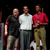 Jim Shannon, left, and Romeo Langford, right, accept the Team of the Year Award on behalf of the New Albany Boys' Basketball team during the third annual News and Tribune Sports Performance Yearly Awards at Eastside Christian Church in Jeffersonville on Tuesday. Shannon was also named coach of the year and Langford won the Boys Player of the Year Award and the Boys Basketball Player of the Year Award. Staff photo by Christopher Fryer