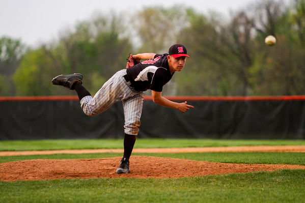 Borden's Lucas McNew pitches during the Braves' game at Silver Creek in Sellersburg on Tuesday. Staff photo by Christopher Fryer
