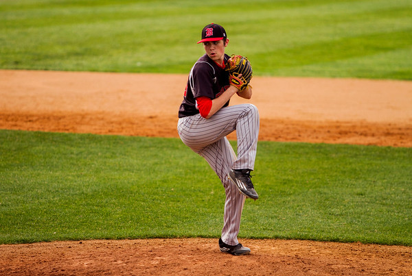 Borden's Caleb Hart pitches during the Braves' game at Silver Creek in Sellersburg on Tuesday. Staff photo by Christopher Fryer