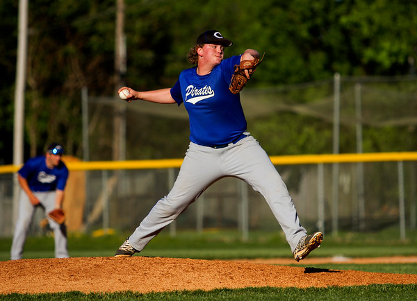 Charlestown's Brady Hester pitches during the Pirates' 9-4 win at Clarksville on Thursday. Staff photo by Christopher Fryer