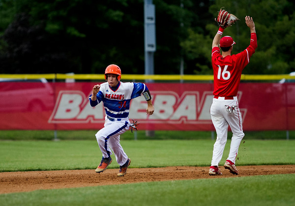 Silver Creek's Bryson McNay moves on to third base off of a Sam Hartsock double during the Dragons' game at Jeffersonville on Wednesday. Staff photo by Christopher Fryer