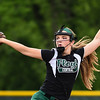 Floyd Central pitcher Abby Letson throws to a New Albany batter during the Highlanders' 5-0 win over the Bulldogs in the semifinal of the Hoosier Hills Conference tournament Wednesday night. Staff photo by Tyler Stewart