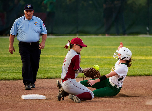 Floyd Central sophomore Alexis McCullough slides safely into second base during the Highlanders' 1-0 loss to Gibson Southern at the Floyd Central Regional in Floyds Knobs on Tuesday. Staff photo by Christopher Fryer