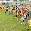 Don Knight | The Herald Bulletin<br /> Runners take off at the start of the Arabian Roundup cross country meet on Wednesday.