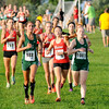 Don Knight | The Herald Bulletin<br /> From left Pendleton Heights' Faith Baer and Alli McCarty lead the pack early during the Arabian Roundup cross country meet on Wednesday.