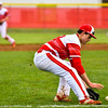 Jeffersonville third baseman Ethan English fields a short grounder for the out during the Red Devils' loss to Decatur Central on Friday. Staff photo by Tyler Stewart