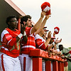 The Red Devils cheer during the Red Devils' game against New Albany on Wednesday. Staff Photo By Josh Hicks