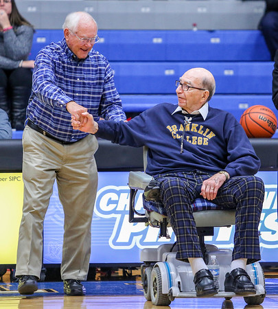 Former coaches John Wood, left, and Billy Abel, the oldest living coach in Charlestown before the Charlestown/New Washington game on Tuesday, November 22nd, 2016. Staff Photo By Josh Hicks