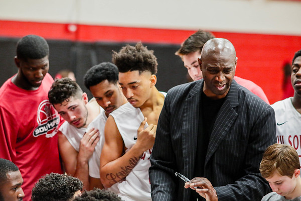 Indiana University Southeast's Head Coach Wiley Brown leads his team during the Grenadiers' 90-81 RSC Tournament Semifinal win over West Virginia Tech at the IUS athletic facility on Saturday. Staff Photo By Josh Hicks