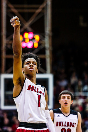 Romeo Langford scored a total of 33 points during the Bulldogs' 89-52 Class 4A Sectional Semifinal win over Bedford at Lloyd E. Scott Gymnasium in Seymour on Friday. Staff Photo By Josh Hicks