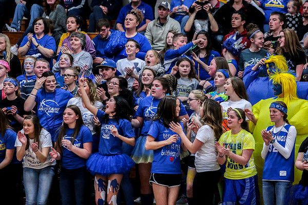 New Washington's cheering section show their colors during the Mustangs' 53-47 Class A Sectional win over the Christian Academy at NWHS on Saturday. Staff Photo By Josh Hicks