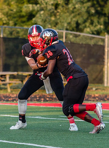 New Albany's Dylan Clark hands the ball off to Darquan Richardson uring the Bulldogs' game against Madison on Friday.