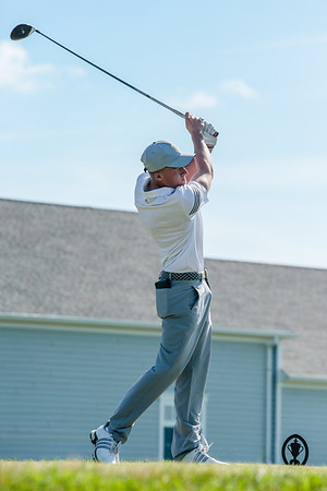 Floyd Central's Dylan Zink tees off during the Regional game at Champion Pointe in Henryville on Thursday. Staff Photo By Josh Hicks