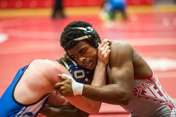 Jeffersonville junior Josiah Freeman locks arms with an opponent during Jeffersonville High School's Wrestling Classic on Saturday. Staff Photo By Josh Hicks
