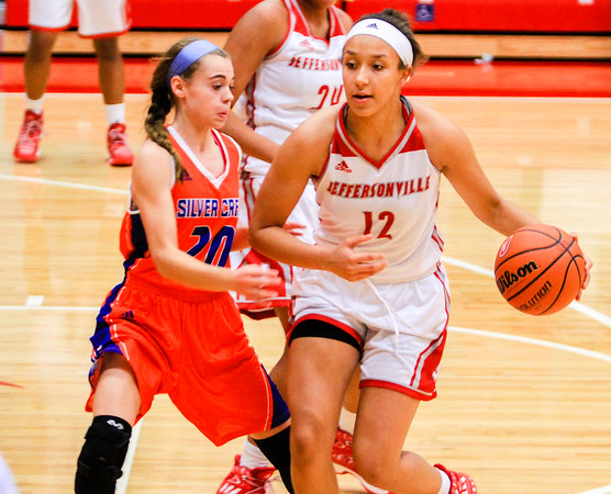 Jeffersonville's Jacinta Gibson looks to find an open pass during their game against Silver Creek at home on Friday. Staff Photo By Josh Hicks