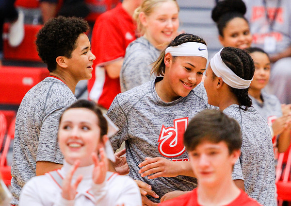 Jeffersonville welcomes freshman Nan Garcia to the court before their game against Silver Creek on Friday. Staff Photo By Josh Hicks
