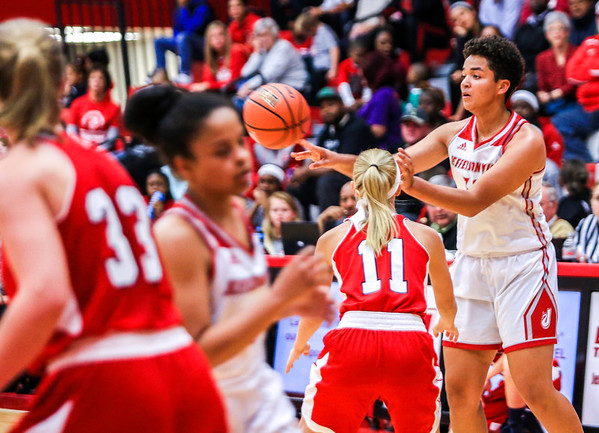 Jeffersonville's Chelsea Gibson makes a pass during their game against Bedford North Lawrence at Johnson Arena on Saturday. Staff Photo By Josh Hicks