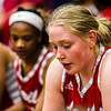 Jeffersonville's Britney Epperson listens to head coach Mike Warren after their first quarter against Providence on Tuesday. Staff Photo By Josh Hicks