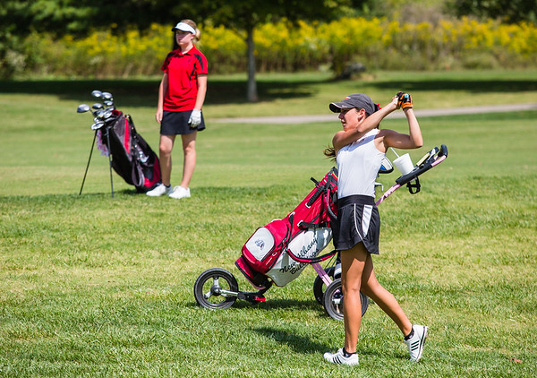 New Albany's Stevie Roth, right, and Borden's Alyse Medlock make their way down a fairway during the sectional at Old Capital Golf Course on Saturday.