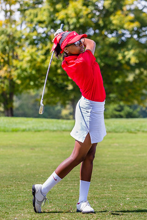 Jeffersonville's Baylee Lawler hits her first ball during the sectional at Old Capital Golf Course on Saturday.