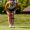 Floyd Central's Jillian Moorefield reads the green during the Zoeller Invitational at Champion's Pointe in Henryville on Saturday.